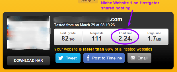 Niche Website 1 on Hostgator shared hosting