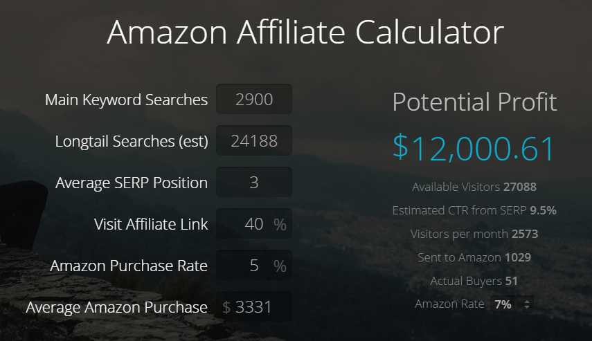AmaProfits Estimate for My New Niche Site